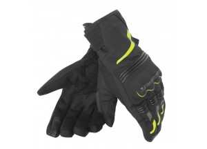 Motorcycle Gloves Dainese TEMPEST UNISEX D-DRY SHORT Black/Yellow-Fluo