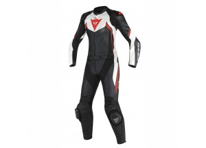 Motorbike Suit Leather Dainese AVRO D2 2 PCS LADY Black/White/Red-Fluo
