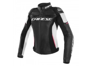Motorcycle Jacket Woman Dainese Leather RACING 3 LADY Black/White/Fuchsia