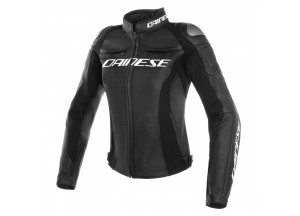 Motorcycle Jacket Woman Dainese Leather Perforated RACING 3 LADY Black