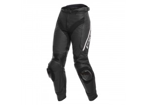 Motorcycle Pants Woman Leather Dainese DELTA 3 LADY Perforated Black/White