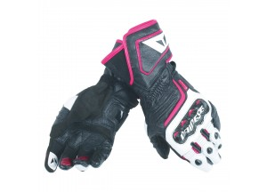 Motorcycle Gloves Woman Dainese CARBON D1 LONG Black/White/Fuchsia