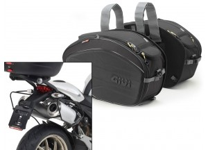 Saddle Bags Givi EA100B + Specific holder for Ducati Monster (08>14)