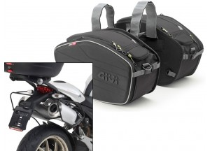 Saddle Bags Givi EA101B + Specific holder for Ducati Monster (08>14)