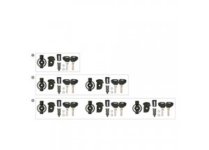 KSL103 - Kappa Set of 3 key locks with corresponding bush for 3 suitcases
