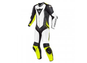 Leather Suit Dainese Laguna Seca 4 1PC Perforated White Black Fluo-Yellow