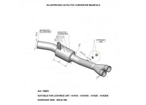16001 - Exhaust Manifold LeoVince Catalytic  Kawasaki Ninja 650 / Z 650 (05-16)