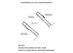 16012 - Exhaust Manifold LeoVince Catalytic  MOTO GUZZI V7 (07-18)