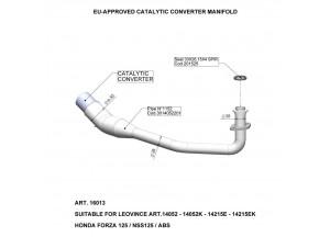 16013 - Exhaust Manifold LeoVince Catalytic  HONDA FORZA 125/NSS 125/ABS (15-18)
