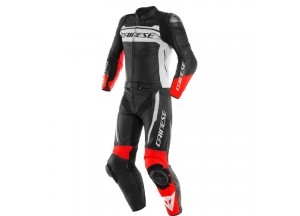 Leather Suit Dainese MISTEL 2 Pieces Matt Black White Lava-Red