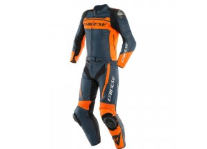Leather Suit Dainese MISTEL 2 Pieces Black-Iris Orange