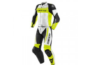 Leather Suit Dainese MISTEL 2 Pieces Matt Black White Fluo-Yellow