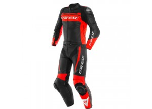 Leather Suit Dainese MISTEL 2 Pieces Matt Black Fluo-Red