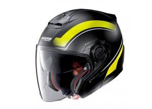 Helmet Jet Nolan N40-5 Resolute 18 Matt Black Yellow