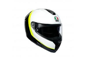 Helmet Flip-Up Full-Face Agv Sportmodular Ray Carbon White Fluo-Yellow