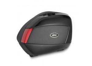 V35N - Pair Side Cases Givi V35 Black Red Reflectors 35lt