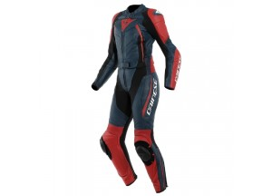 Motorbike Suit Leather Woman Dainese AVRO D2 2 PCS LADY Black-Iris Haute-Red