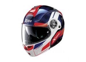 Helmet Flip-Up Full-Face X-Lite X-1004 Ultra Carbon 12 Tinto Blue Glossy White