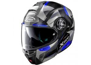 Helmet Flip-Up Full-Face X-Lite X-1004 Ultra Carbon Dedalon 19 Glossy Black Blue
