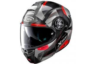 Helmet Flip-Up Full-Face X-Lite X-1004 Ultra Carbon Dedalon 17 Glossy Black Red