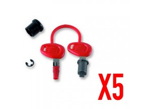 Z1382 - Givi Set for 5 key locks with corresponding bush with red handle