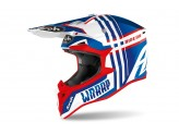 Casque Intégral Off-Road Airoh Wraap Broken Bleu Rouge Brilliant