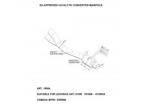 16004 - Collecteur Echappement LeoVince Catalytique Yamaha MT-09 / XSR 900