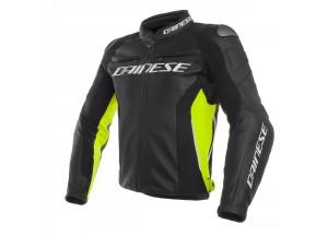 Veste en cuir Dainese Racing 3 Noir / Noir / Fluo-Jaune