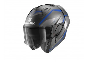 Casque Modulaire Ouvrable Discovery Shark EVO-ES YARI MAT Anthracite Bleu Argent