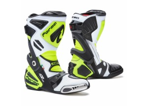 Bottes en cuir Racing Forma Ice Pro Flow Blanc Noir Jaune Fluo