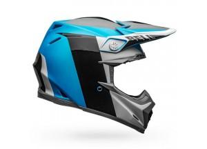 Casque Bell Off-road Motocross Moto-9 Carbon Flex Divison Blanc Bleu Noir