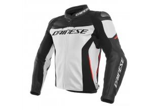 Veste en cuir Dainese Racing 3 Blanc/Noir/Rouge