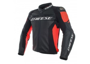 Veste en cuir Dainese Racing 3 Perforé Noir/Noir/Fluo-Rouge