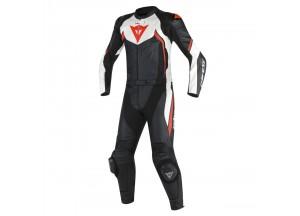 Combinaison de Moto Cuir Homme Dainese AVRO D2 2PCS Noir/Blanc/Rouge-Fluo