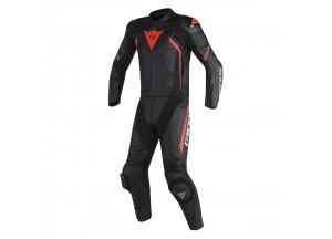 Combinaison de Moto Cuir Homme Dainese AVRO D2 2PCS Noir/Rouge-Fluo