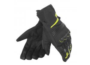 Gants de Moto Dainese TEMPEST UNISEX D-DRY SHORT Noir/Jaune-Fluo