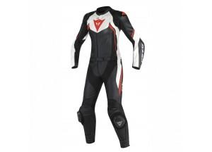 Combinaison de Moto Cuir Dainese AVRO D2 2 PCS LADY Noir/Blanc/Rouge-Fluo