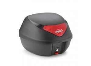 K29N - Kappa Valise MONOLOCK 29 litres noir gaufré avec catadioptres rouges