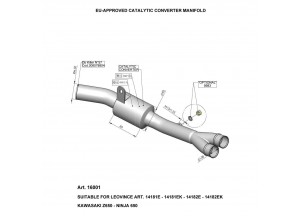 16001 - Collecteur Echappement LeoVince Catalytique Kawasaki Ninja 650 / Z 05-16