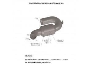 16002 - Collecteur Echappement LeoVince Catalytique DUCATI SCRAMBLER 800 (15-18)