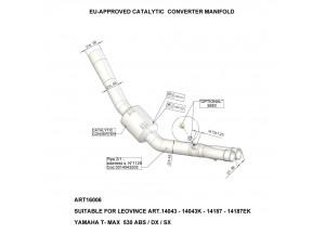 16006 - Collecteur Echappement LeoVince Catalytique Yamaha T-MAX 530 (01-18)