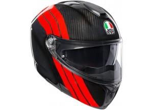 Casque Intégral Ouvrable Agv Sportmodular Stripes Carbon Rouge