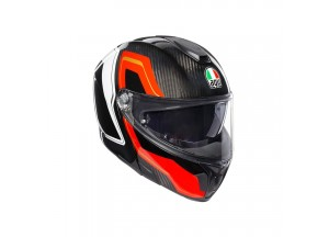 Casco Integral Abierto Agv Sportmodular Sharp Carbon Rojo Blanco