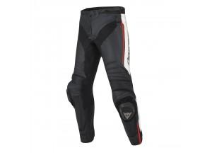 Pantalones Dainese Racing Misano De Piel Negro/Blanco /Fluo-Rojo