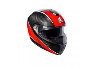 Casco Integral Abierto Agv Sportmodular Aero Carbon Rojo