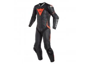 Mono moto de piel Dainese Laguna Seca 4 Verano Negro/Negro/Fluo-Rojo