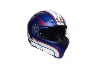 Casco Integral Abierto Agv Compact St Boston Azul Mate Blanco Rojo