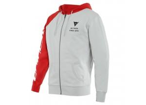 Sudadera Dainese PADDOCK Full-Zip Glacier-Grey/Lava-Red/Negro