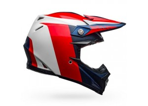 Casco Bell Off-Road Motocross Moto-9 Carbon Flex Division Blanco Azul Rojo