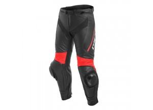 Pantalones Dainese Racing Delta 3 De Piel Negro/Negro/Rojo-fluo